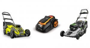 image of electric and battery powered mowers