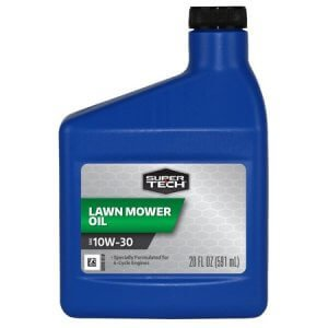 blue plastic mower oil bottle