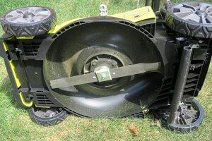 underside image of troy bilt mower showing blades