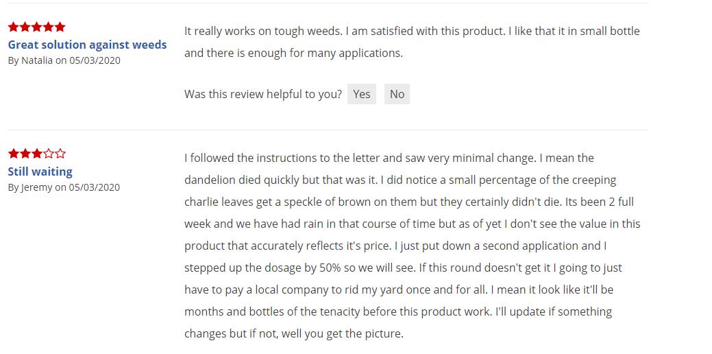 customer review on tenacity